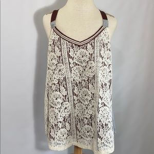 Maurices lace stretch tank top burgundy gray cream